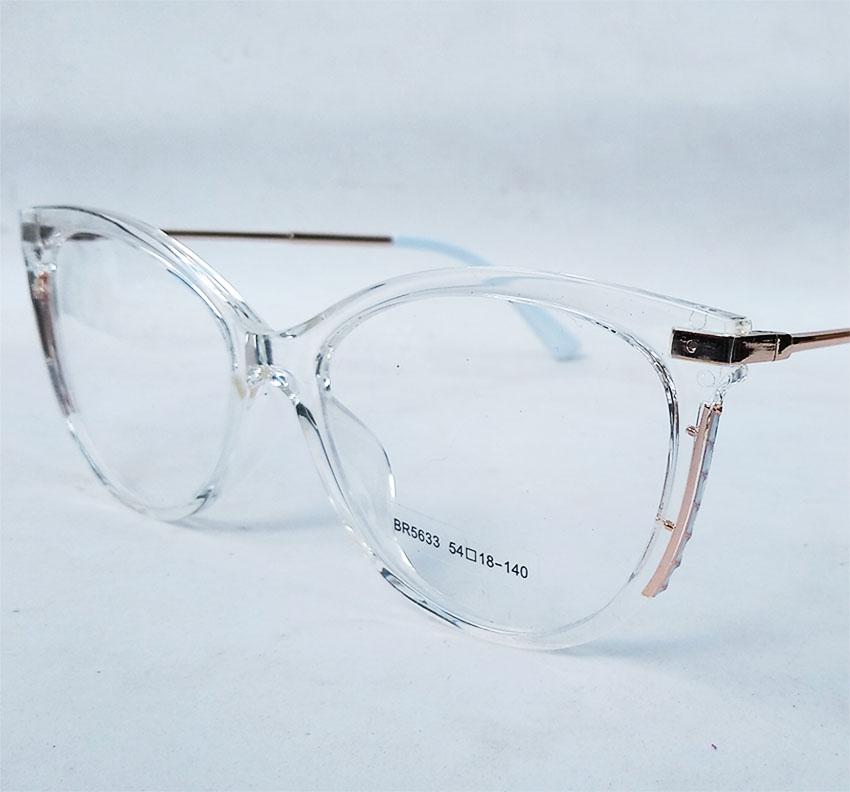 Armação De Óculos De Grau Feminino Gatinho Redondo Transparente Cristal 5633 White Luxo Chéri