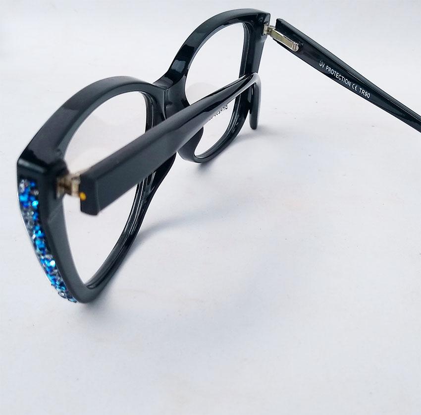 Armação De Óculos De Grau Feminino Gatinho Strass 4235 Black Retro Sapphire