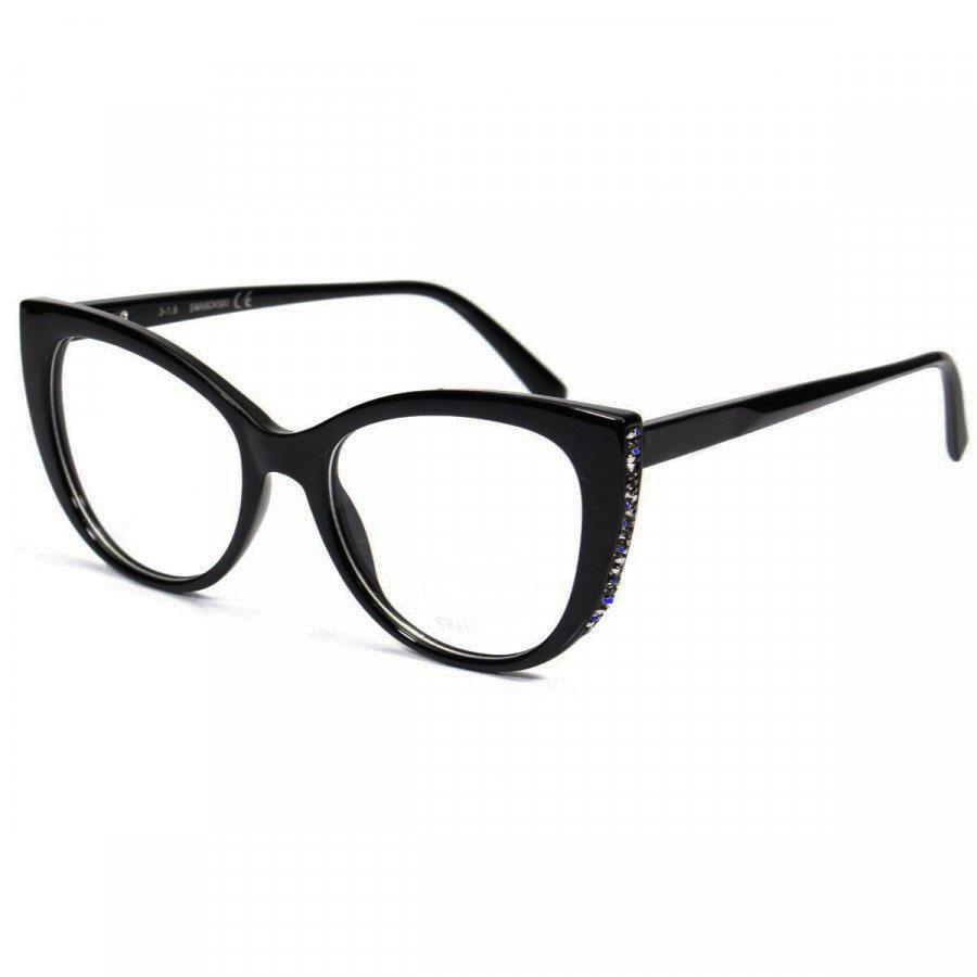 Armação De Óculos De Grau Feminino Gatinho Strass 5291 Black Retro Sapphire
