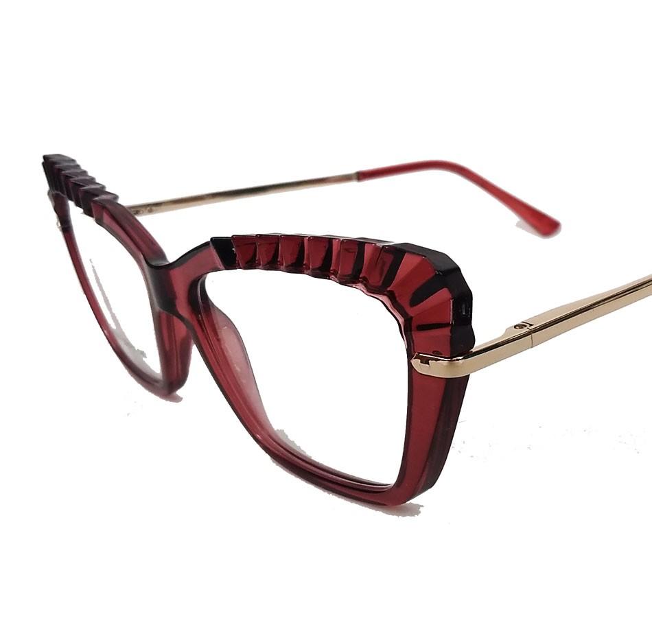 Armação de Óculos de grau Feminino Mosaico Lapidado 3D Gatinho Bordo Plisse 5050