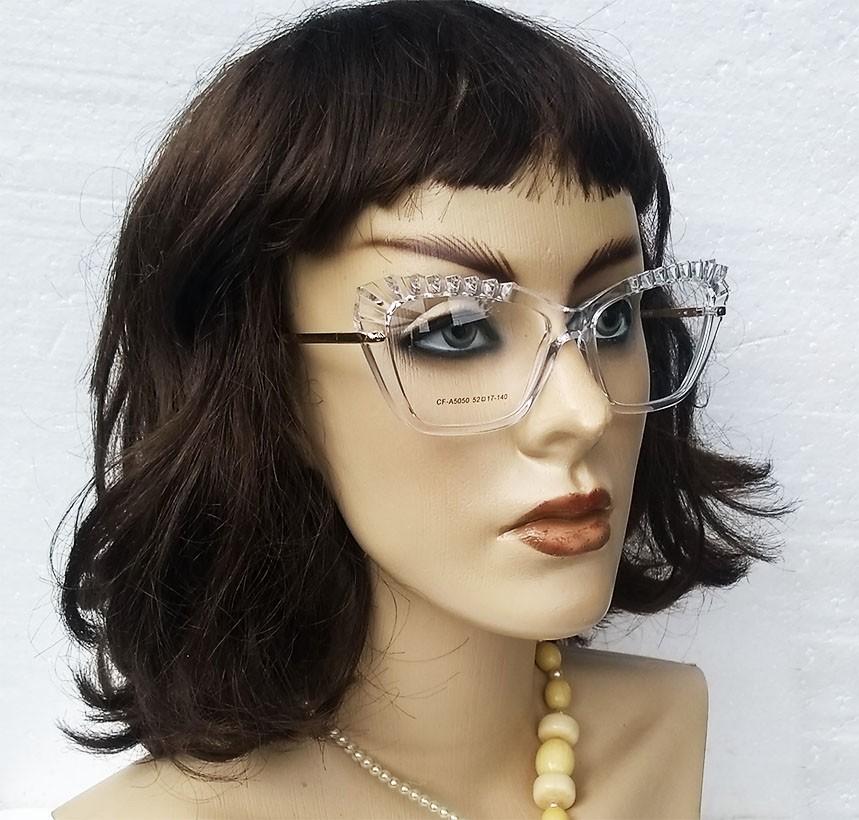 Armação de Óculos de grau Feminino Mosaico Lapidado 3D Gatinho Transparente Plisse 5050
