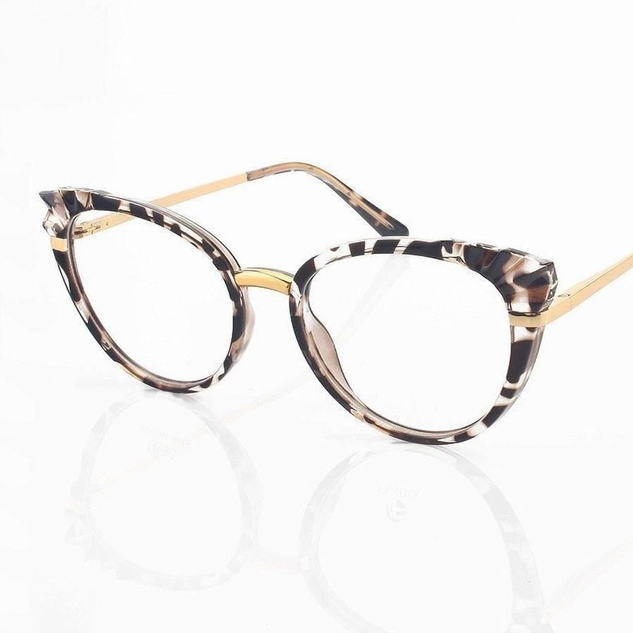 Armação de Óculos de grau Feminino Mosaico Lapidado 3D Onça Tartaruga Redondo 5051 Plisse