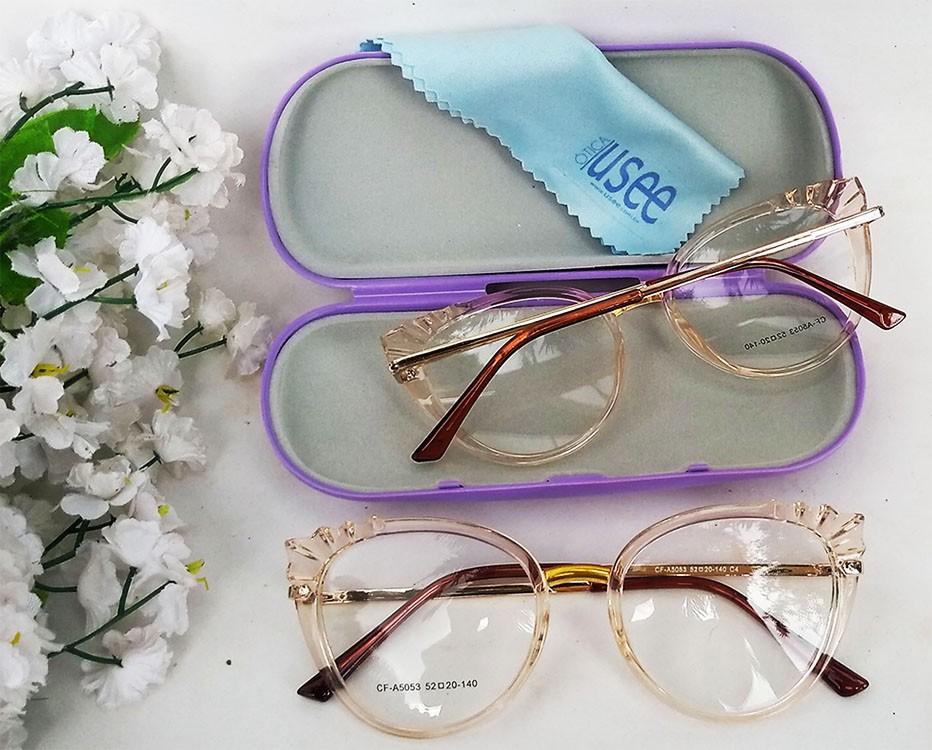 Armação de Óculos de grau Feminino Mosaico Lapidado 3D Transparente Redondo 5051 Plisse