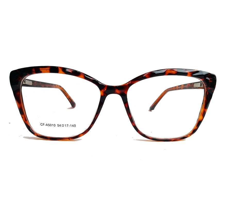 Armação de Óculos de grau Gatinho Feminino Mosaico Lapidado 3D Onça Tartaruga 5010