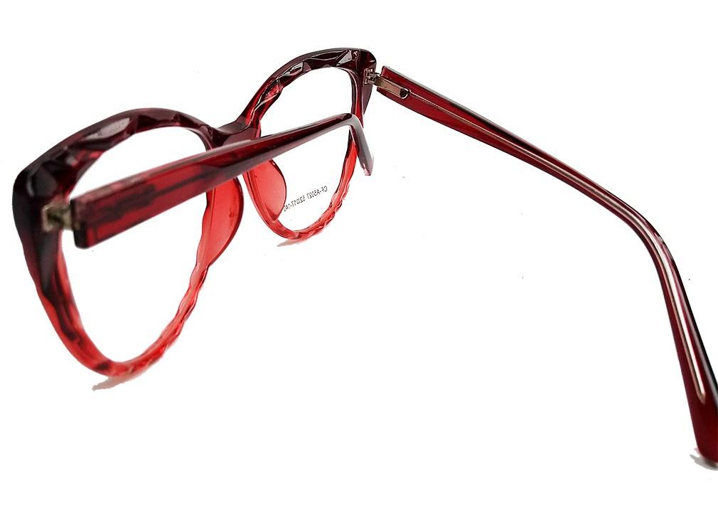 Armação de Óculos de grau Gatinho Feminino Mosaico Lapidado 3D Red degrade 5027