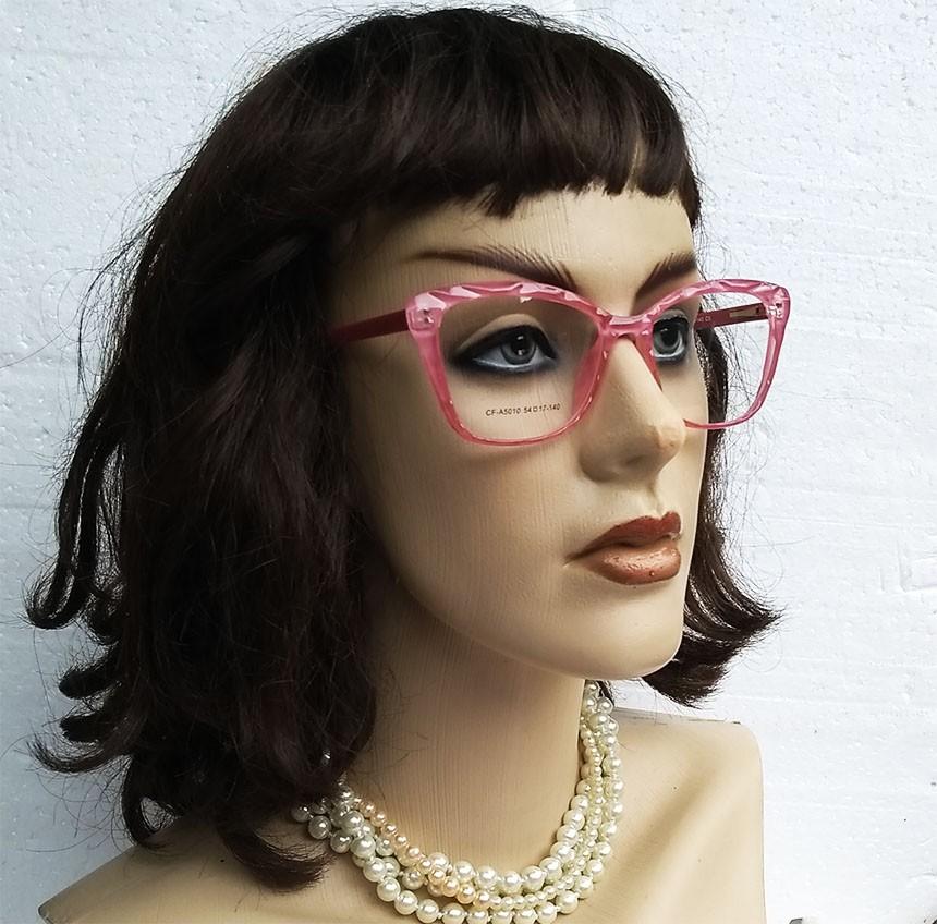 Armação de Óculos de grau Gatinho Feminino Mosaico Lapidado 3D Rosa 5010