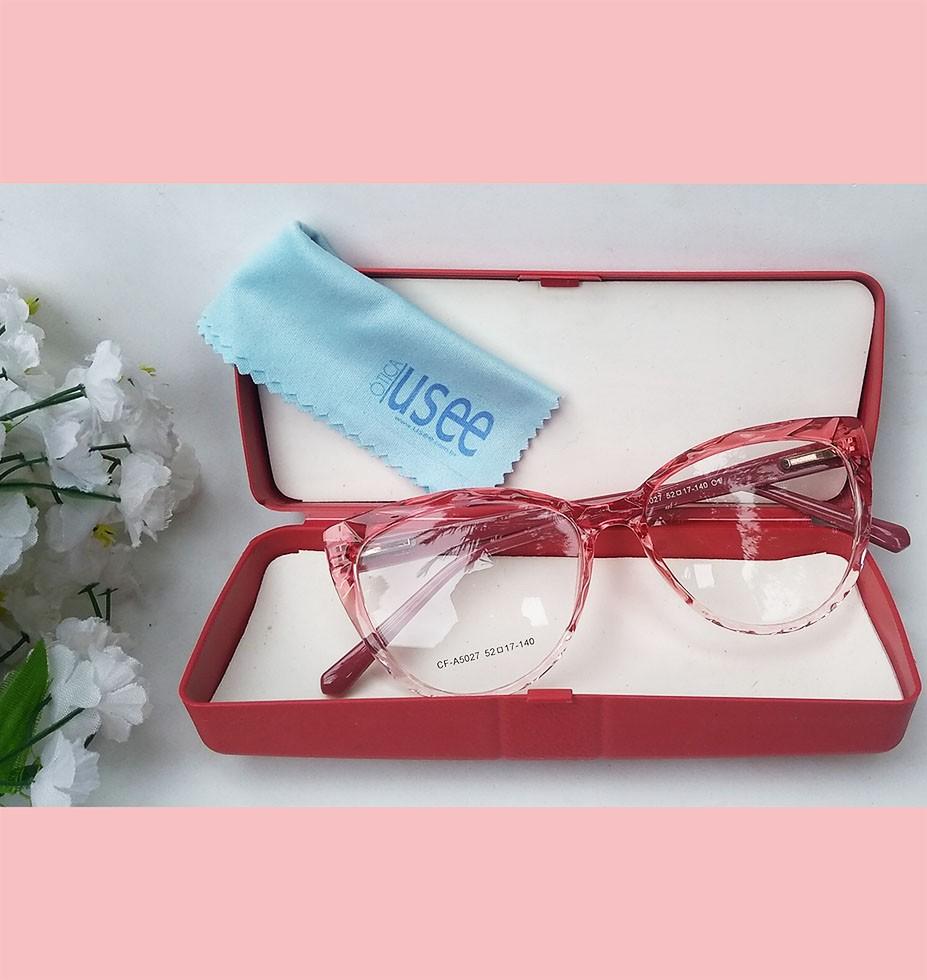 Armação de Óculos de grau Gatinho Feminino Mosaico Lapidado 3D Vermelho degrade 5027