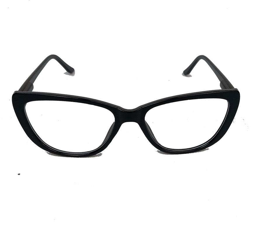 Armação De Óculos De Grau Gatinho retro Varnish Black 1263 Basic