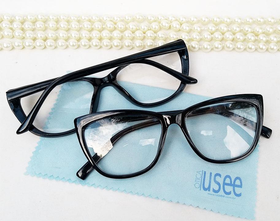 Armação De Óculos De Grau Gatinho retro Varnish Black 1265 Basic