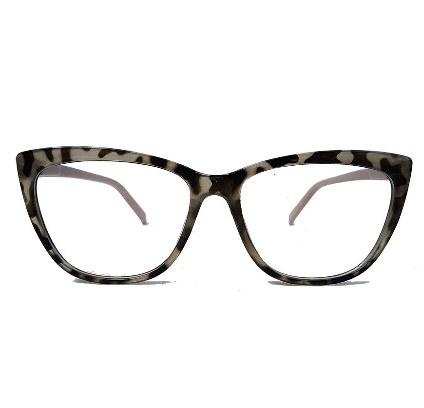 Armação De Óculos De Grau Gatinho retro Varnish Oncinha Nude 1267