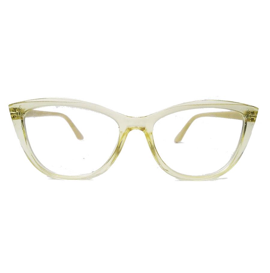 Armação De Óculos De Grau Gatinho Varnish Retro Transparente 1261 Amarelo