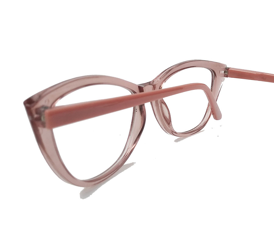 Armação De Óculos De Grau Gatinho Varnish Retro Transparente 1261 Rose