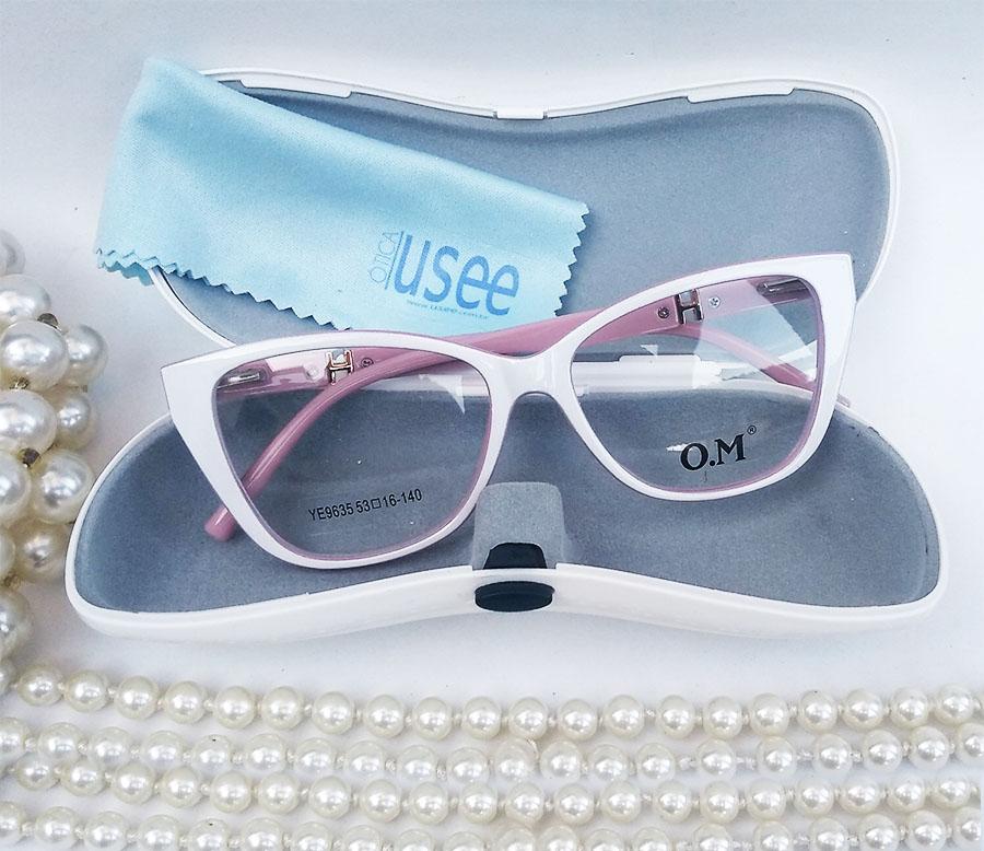 Armação de Óculos de Grau Gatinho White Cherri 9635 Branco