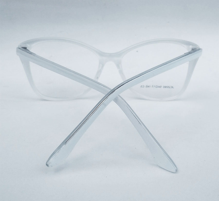 Armação de Óculos de Grau Gatinho White Retangular Snow Branco