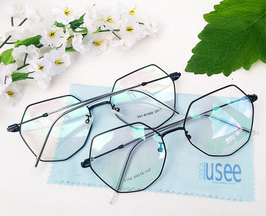 Armação de óculos de grau Hexagonal Metal Geométrico Roud Steel 762
