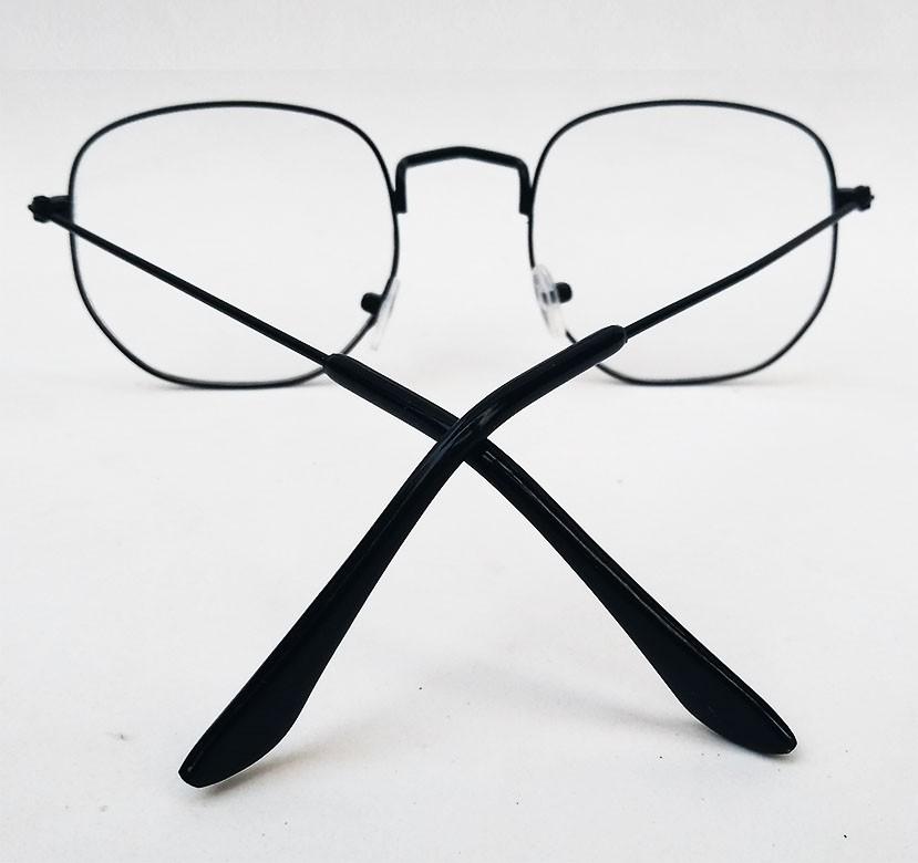 Armação de oculos de grau Hexagonal Metal Roud Steel Geométrico 029