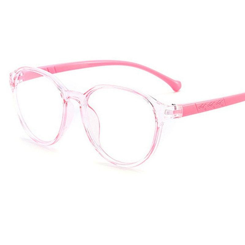 Armação de Óculos de Grau Infantil Redondo Transparente Rosa Flex Grilamid