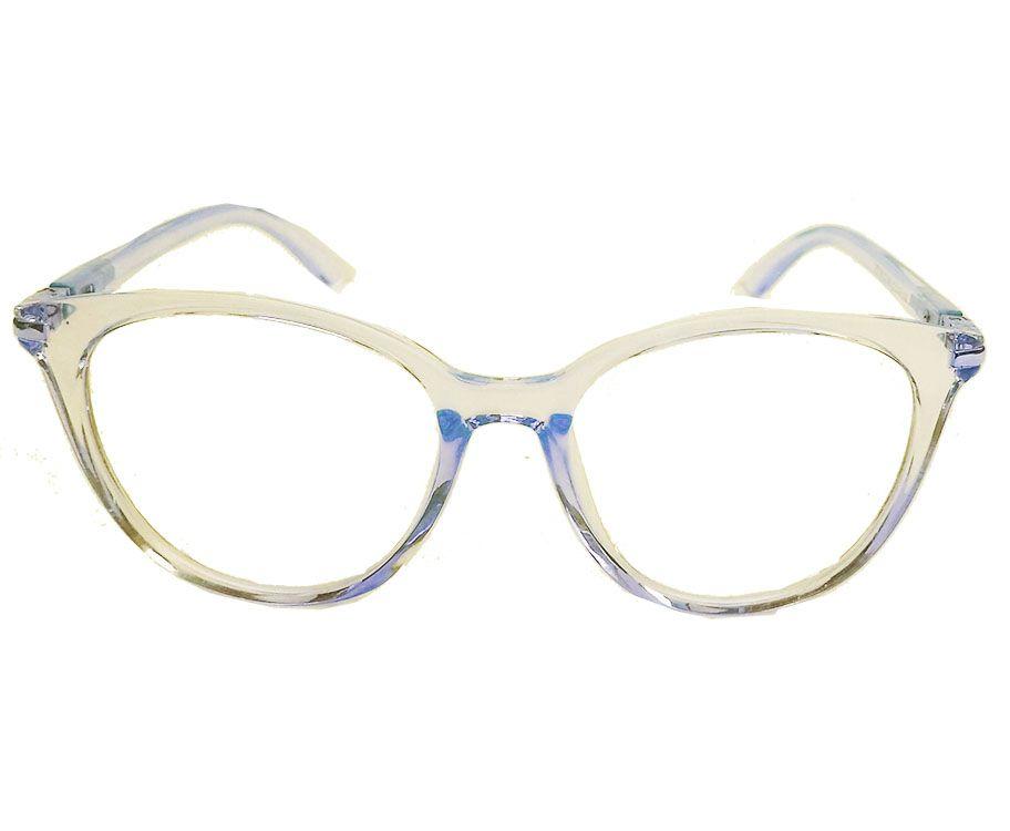 Armação de Óculos de grau Lolla transparente redondo ouro amarelo
