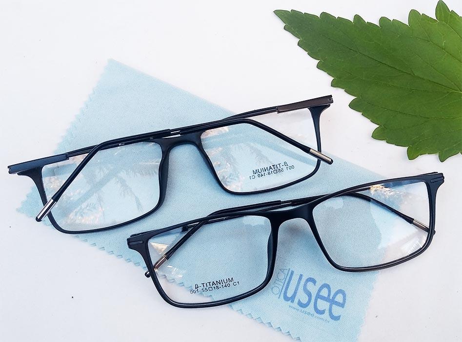 Armação de óculos de grau Masculino B Titanium Light 3218 Retangular Black Confort