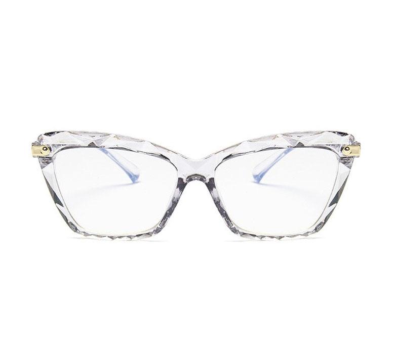Armação de óculos de grau Mosaico Lapidado transparente Retangular c/ lentes anti Blue