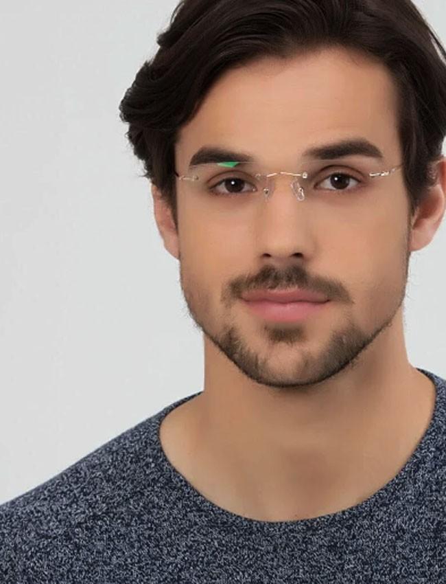 Armação de Oculos de grau parafusada Flutuante Titânio Com Lente Miopia e Astigmatismo ou hipermetropia