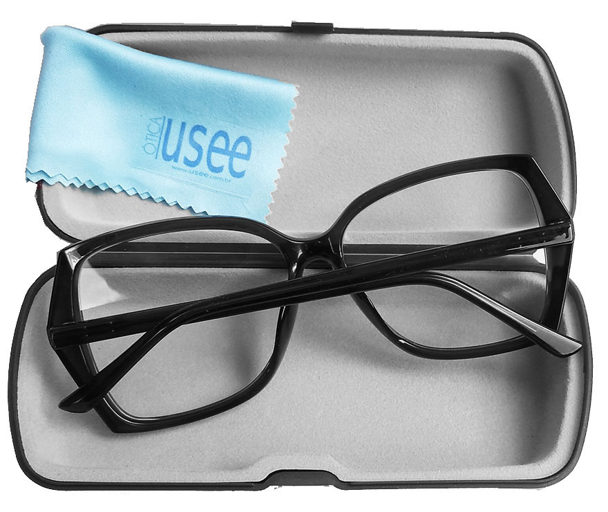 Armação De Óculos De Grau Quadrado Grande New Square Rebeca Dark