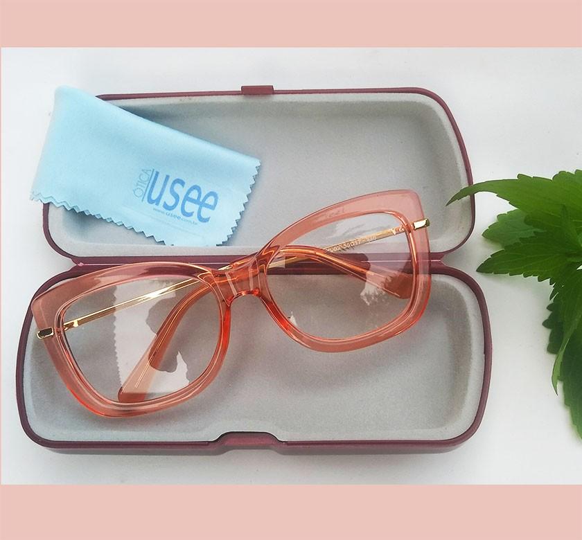 Armação De Oculos de grau Quadrado Transparente 545 Orange Red