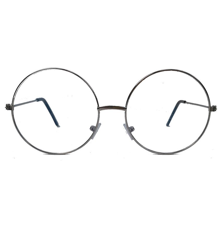 Armação de Óculos de Grau Redondo Juliette Retro Vintage Metal Prata Steel