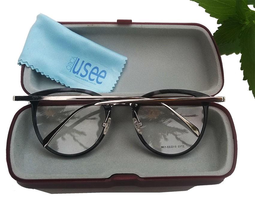 Armação de oculos de grau Redondo Metal e Acetato Round Black 517 Marble