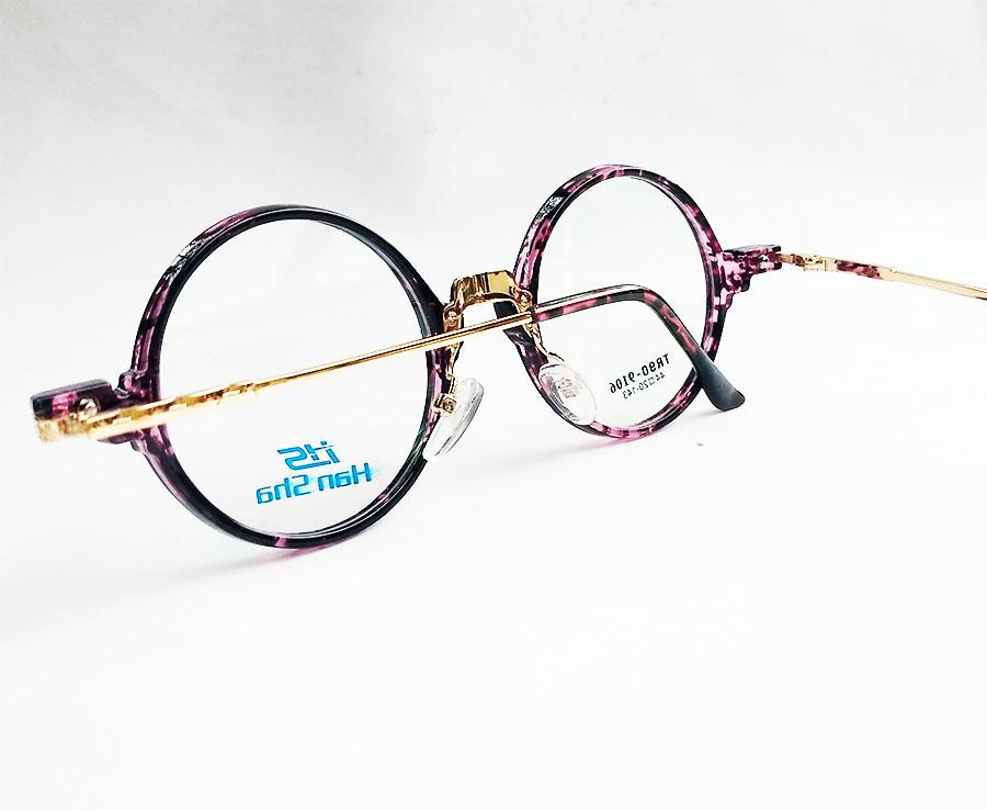 Armação de óculos de grau Redondo Retro Round Vintage 9106 Black Lilás