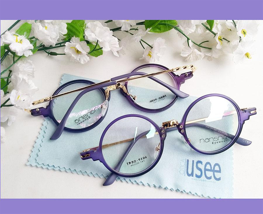 Armação de óculos de grau Redondo Retro Round Vintage 9106 Blue Purple