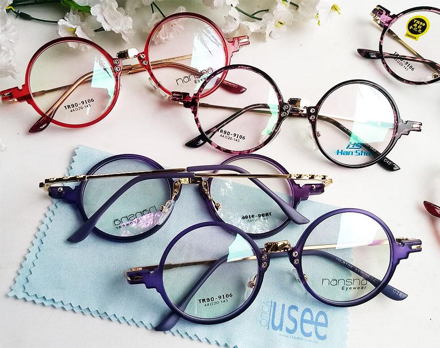 Armação de óculos de grau Redondo Retro Round Vintage 9106 Vermelho