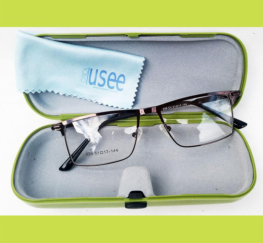 Armação de óculos de grau Retangular metal Alumínio Brown 6661