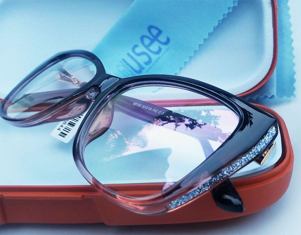 Armação de oculos de grau Strass Gatinho degrade Renata 68158 Swar Brilhos