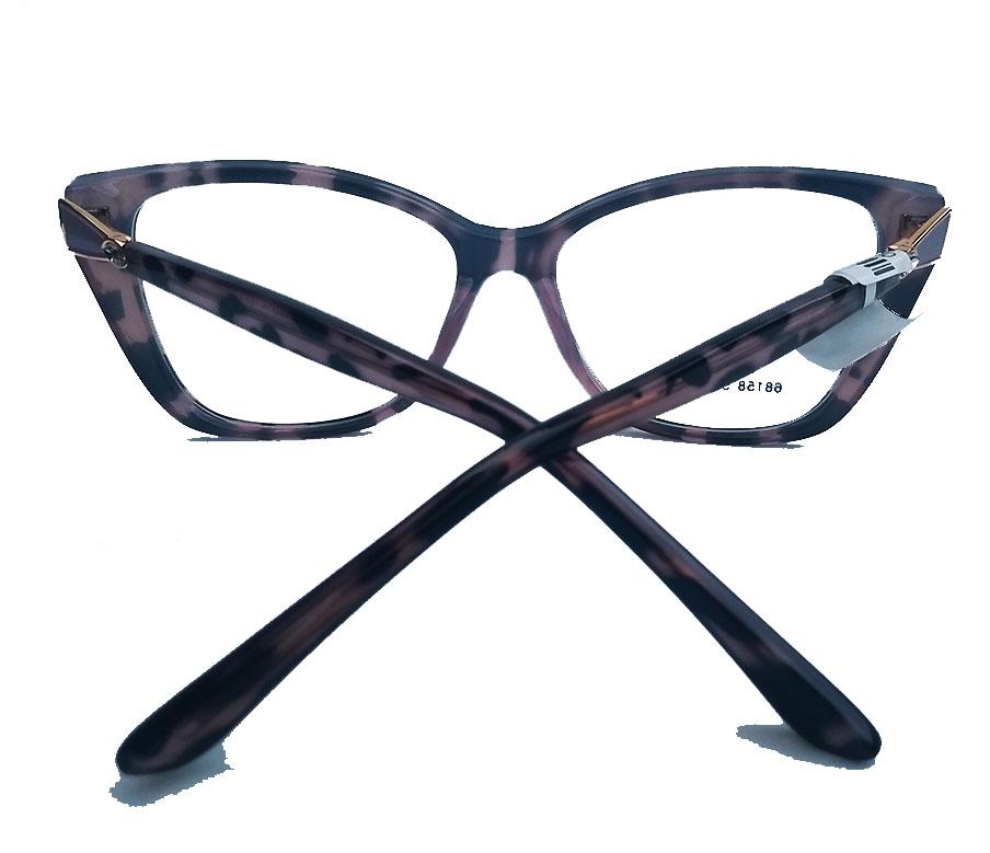 Armação de oculos de grau Strass Gatinho oncinha Renata 68158 Swar Brilhos