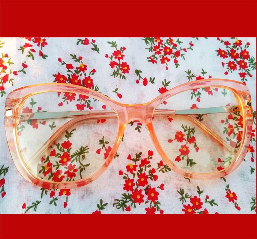 Armação de oculos de grau tartaruga estampado quadrado grande transparente 545  Big Square Marmore