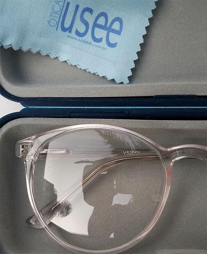 Armação De Óculos de grau transparente redondo Cristal Glass