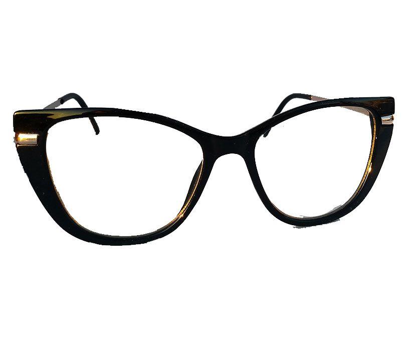 Armação De Óculos Feminino Gatinho Square Charlote Luxo Chic