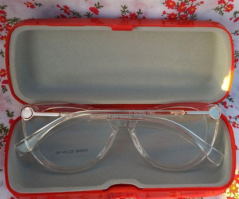 Armação De Óculos Feminino Gatinho Transparente Cristal Luxo Acqua Glass Degrade