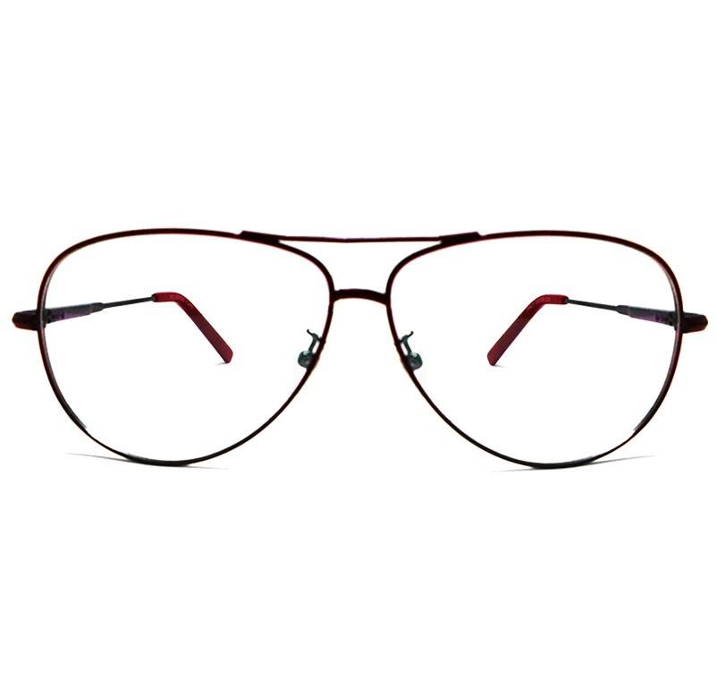 Armação De Oculos Grau Aviador 6049 Preto vermelho