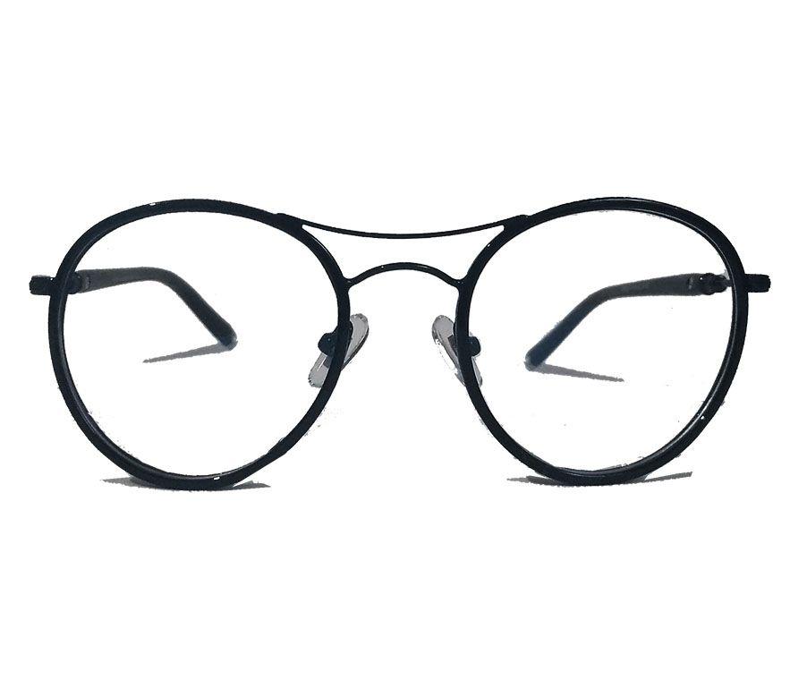 Armação De Óculos Grau Redondo Aviador New Black Round Charm Gimpo