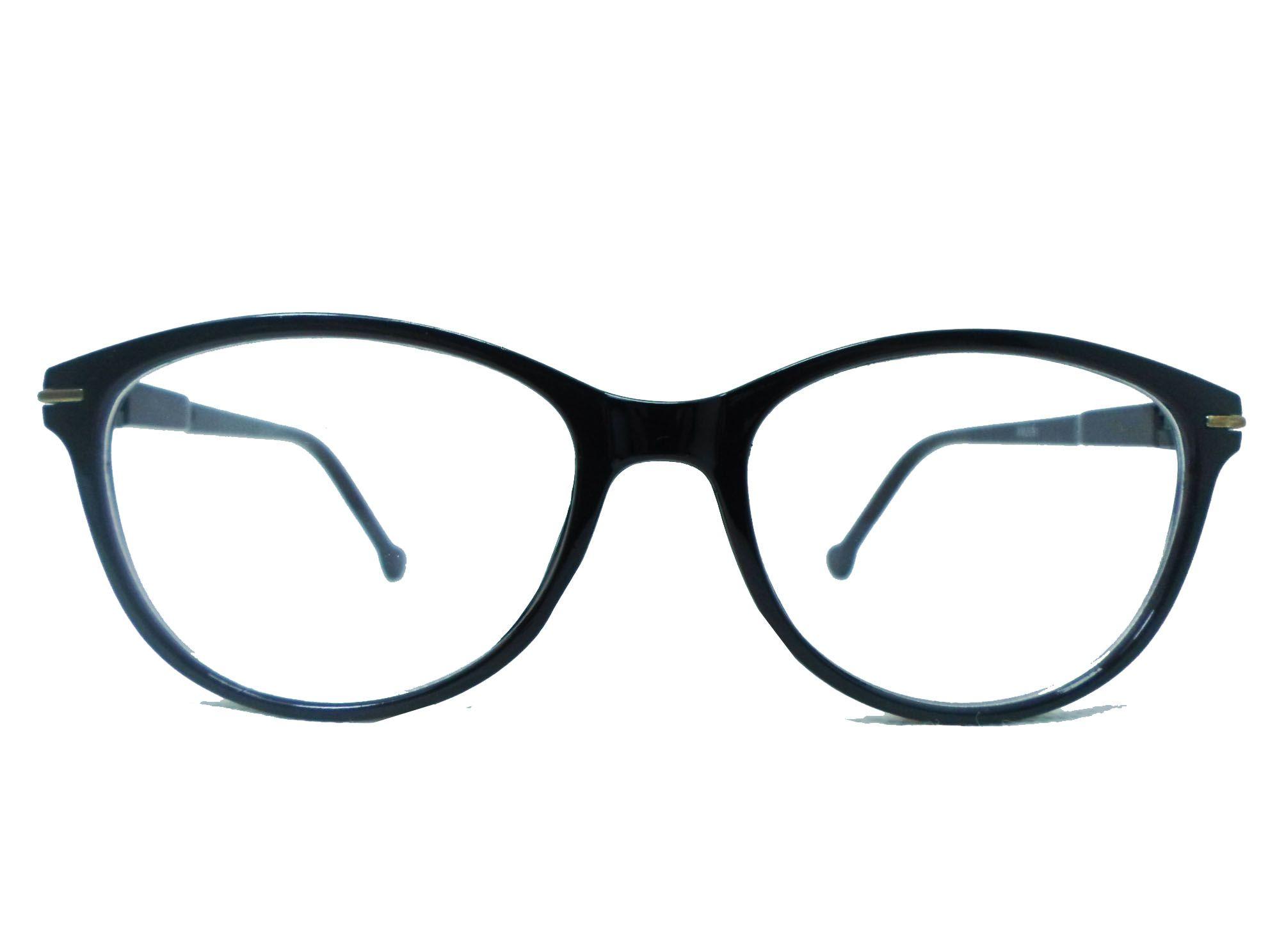 Armação De Óculos Grau Redondo Black Confortável Leve Formal