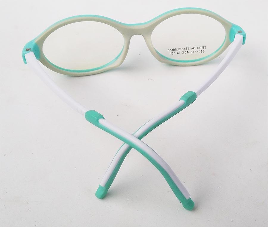 Armação De Óculos Infantil Oval Silicone anti queda Soft kids  6614 Azul Bebe