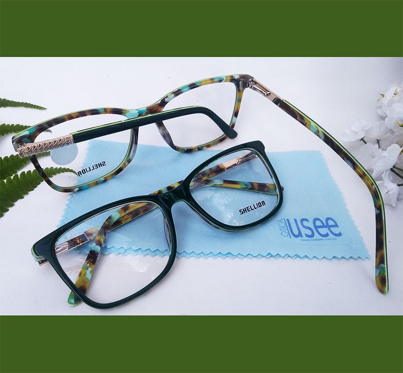 Armação De Óculos para grau Emborrachado Retangular Mármore Purple  e Green Resistente
