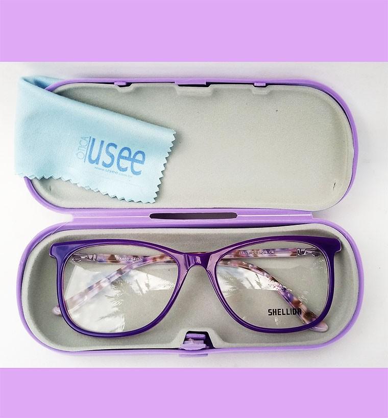 Armação De Óculos para grau Emborrachado Retangular Violeta Roxo Mármore