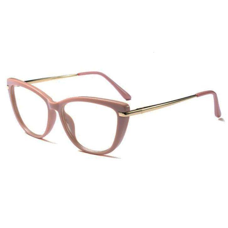 Armação De Óculos Para Grau Feminino Gatinho Luxo Nude Ana 45366