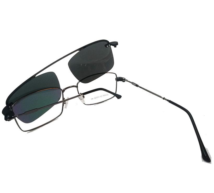 Armação de Óculos Quadrado para grau e solar 2 em 1 Clip On Metal Steel