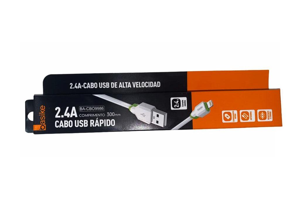 Cabo Usb iPhone Lightning 2.4A Carregamento rápido Resistente Basike