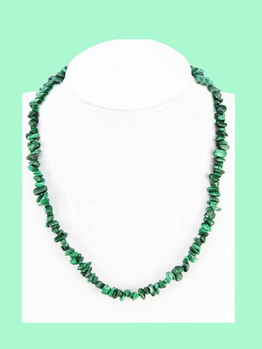 Colar De Cascalho Malaquita Verde C/fecho 50cm Pedra Cura Cristais