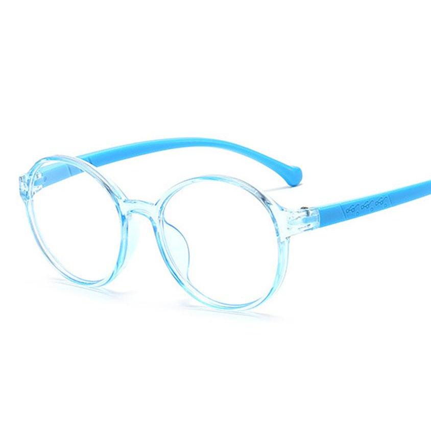 Armação de Óculos de Grau Infantil Redondo Transparente Azul Flex Grilamid